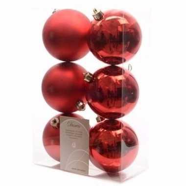 Elegant christmas kerstboom decoratie kerstballen rood 6 x