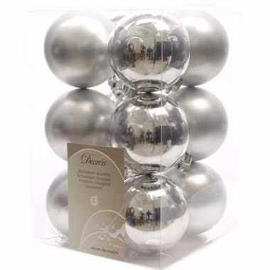 Elegant christmas kerstboom decoratie kerstballen zilver 12 x