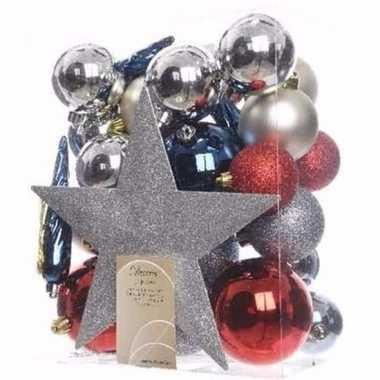 Elegant christmas kerstboom decoratie set zilver/rood 33 delig