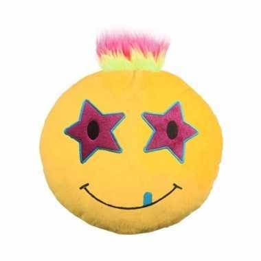 Emoji punk kussen ster oogjes 35 cm