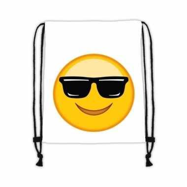 Emoticon gymtasje met zonnebril wit trend