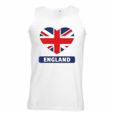 Engeland hart vlag singlet shirt/ tanktop wit heren