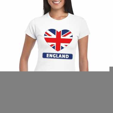 Engeland hart vlag t-shirt wit dames