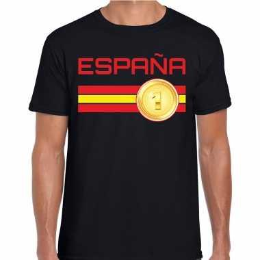 Espana / spanje landen t-shirt zwart heren