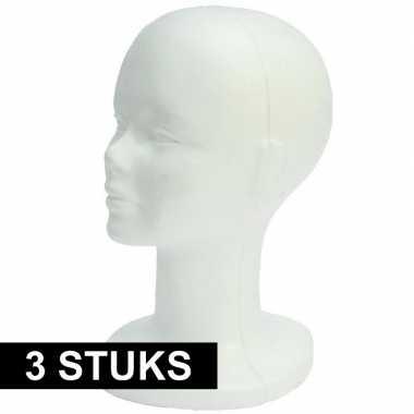 Etalage materiaal paspop hoofden wit 30 cm 3 stuks
