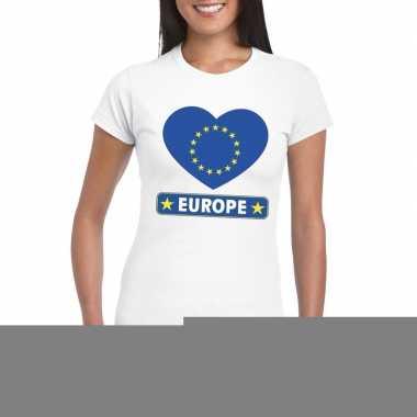 Europa hart vlag t-shirt wit dames