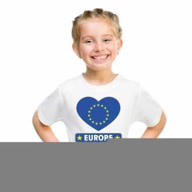 Europa hart vlag t-shirt wit jongens en meisjes