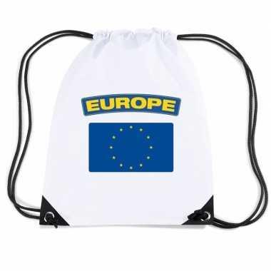 Europa nylon rugzak wit met europese vlag