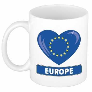 Europese vlag hartje theebeker 300 ml trend