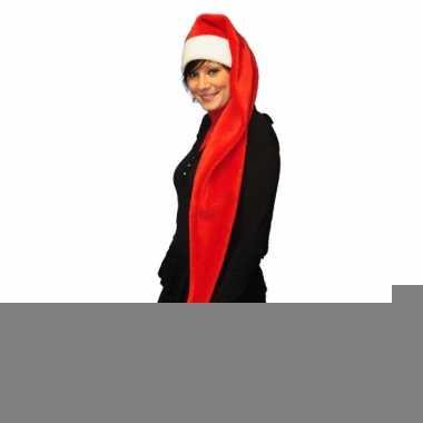 Extra lange rode kerstmuts
