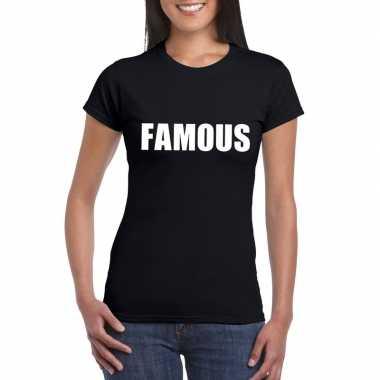 Famous tekst t-shirt zwart dames