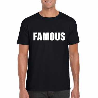 Famous tekst t-shirt zwart heren