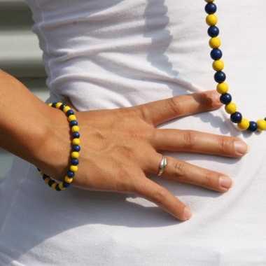 Fan armband blauw met geel