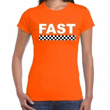 Fast coureur supporter / finish vlag t-shirt oranje voor dames
