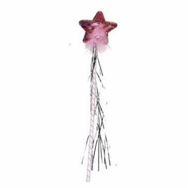 Feeen toverstafje 38 cm roze