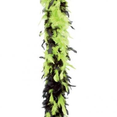 Feest boa lime groen/zwart 180 cm