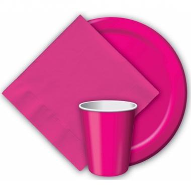 Feest borden fuchsia roze 23 cm