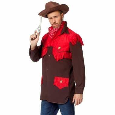 Feest cowboy kleding shirt voor heren