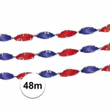 Feest crepe slingers rood/wit/blauw