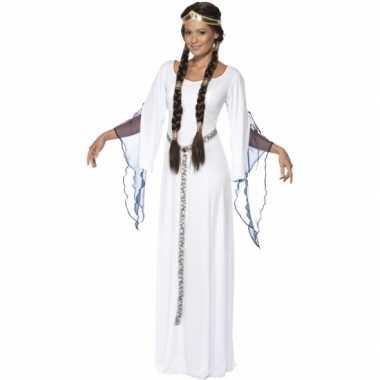 Feest middeleeuwse witte verkleedoutfit voor dames
