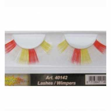 Feest nep wimpers in het rood/wit/geel
