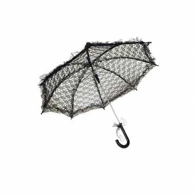 Feest paraplu zwart kant 70 cm