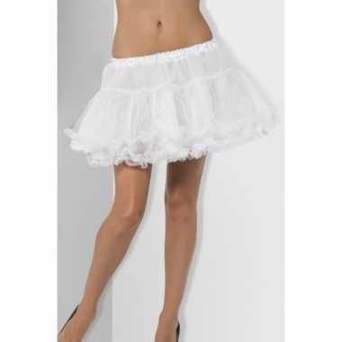 Feest petticoat wit met satijnen band voor dames