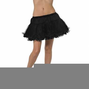 Feest petticoat zwart met satijnen band voor dames
