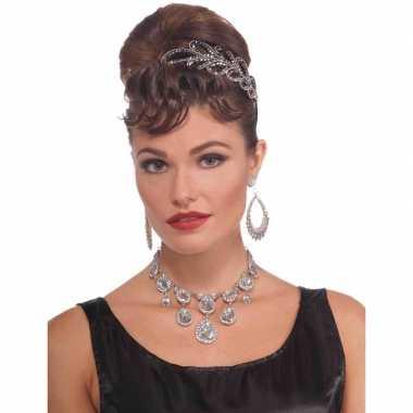 Feest/verkleed ketting zilver met diamanten voor dames