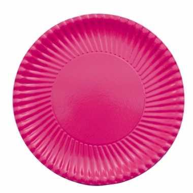Feestartikelen borden fuchsia roze 10 stuks