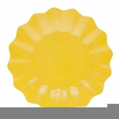Feestartikelen diepe borden geel 21 cm
