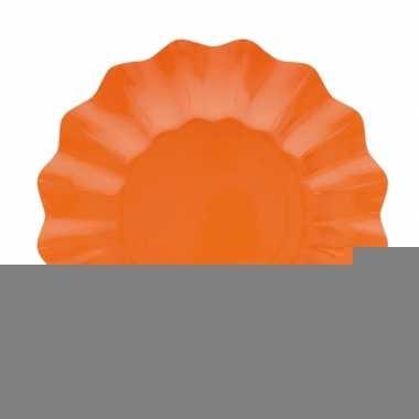 Feestartikelen diepe borden oranje 21 cm
