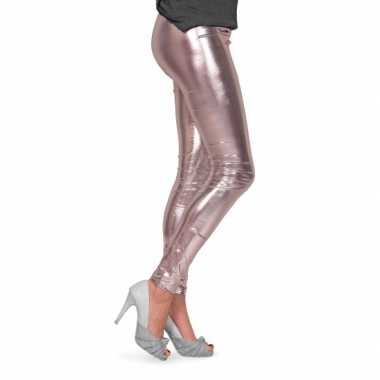 Feestartikelen glimmende zilveren dames legging