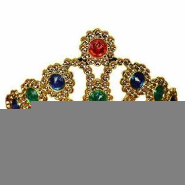 Feestartikelen gouden kroon met gekleurde stenen