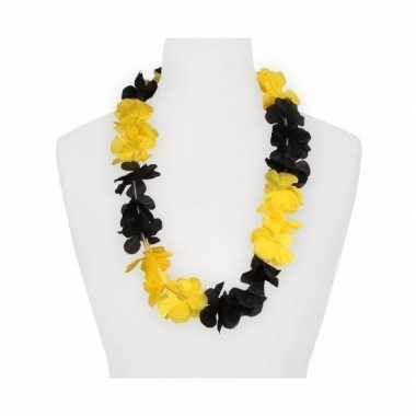 Feestartikelen hawaii bloemen krans geel/zwart