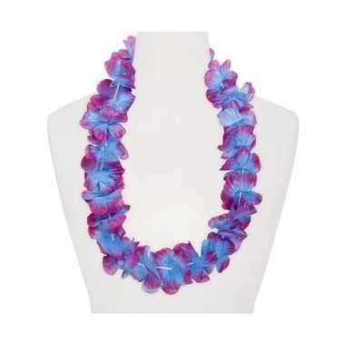 Feestartikelen hawaii bloemen krans paars/blauw