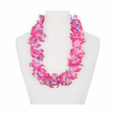 Feestartikelen hawaii bloemen krans roze/paars