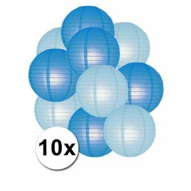 Feestartikelen lampionnen blauw/lichtblauw10x
