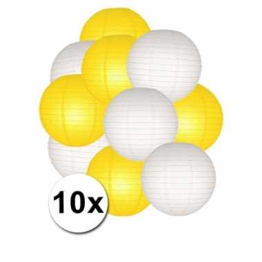 Feestartikelen lampionnen geel/witte 10x