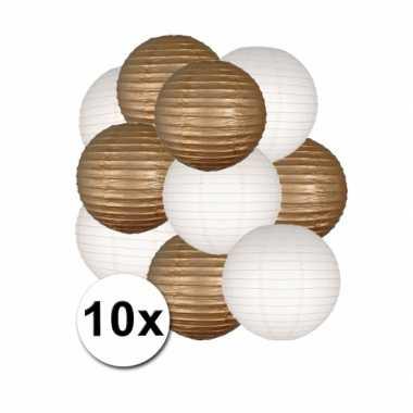 Feestartikelen lampionnen goud/witte 10x