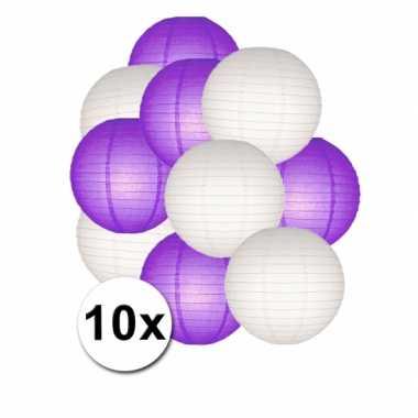 Feestartikelen lampionnen paars/witte 10x
