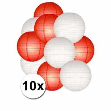 Feestartikelen lampionnen rood/witte 10x