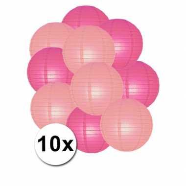 Feestartikelen lampionnen roze/lichtroze 10x
