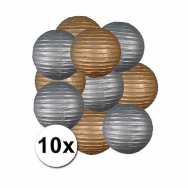Feestartikelen lampionnen zilver/goud10x