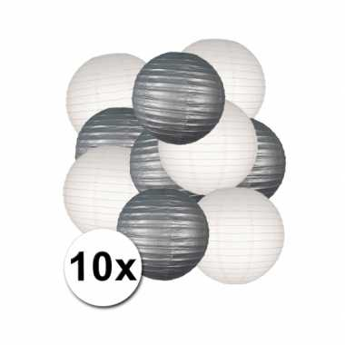 Feestartikelen lampionnen zilver/witte 10x