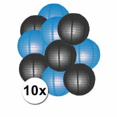 Feestartikelen lampionnen zwart/blauw10x