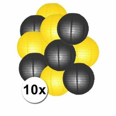 Feestartikelen lampionnen zwart/gele10x