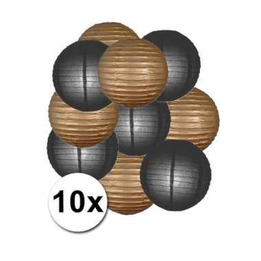 Feestartikelen lampionnen zwart/gouden10x