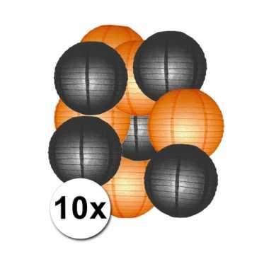 Feestartikelen lampionnen zwart/oranje10x