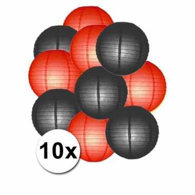 Feestartikelen lampionnen zwart/rode10x